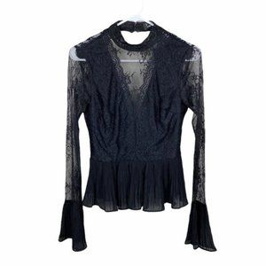Lulus black lace bell sleeve sheer top size small